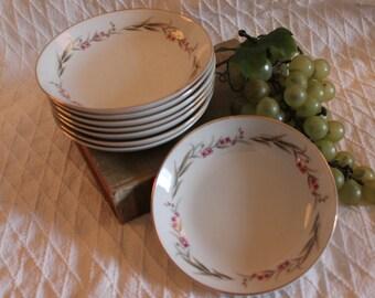 "Set of 8 Prestige Fine China 5.5"" Fruit Bowls or Dessert Dishes - Cherry Blossom Pattern"