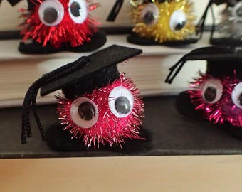 Graduation Warm Fuzzies Sparkly / Grads Glitter Warm Fuzzy Critters / Party Favors Graduate Mortarboard Caps (Set of 30)