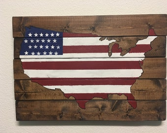 Hand Painted Wood USA MAP, United States, Pallet art