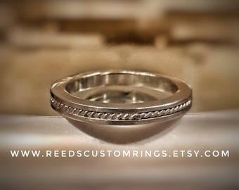 Sterling Silver Wedding Band - Silver Wedding Ring - Silver Rope Ring - Sterling Silver Wedding Band - Silver Wedding Band - Silver Ring