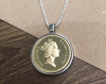 1999 18th birthday One pound coin pendant - silver plated
