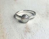 Custom Order Pearl Ring plus two hammered stacking rings for Talie
