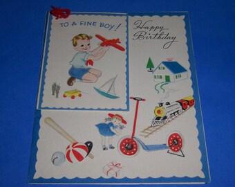 Vintage Unused Children's Birthday Card, 1940's, To A Fine Boy, The Fairfield Line