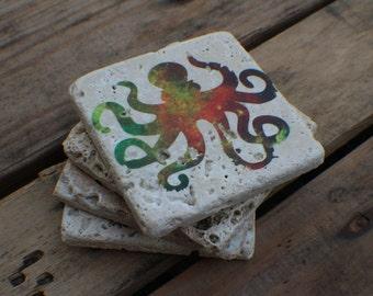 Octopus Coasters, Galaxy Coasters, Stone Coasters, Funky Coasters, Kitchen Art, Octopus Galaxy Coasters, Coral Coasters, Octopus Gift