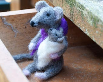 Needle Felted Mouse and Baby - One of A Kind, Hand Made