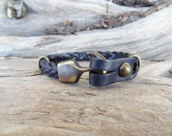 EXPRESS SHIPPING,Black Thick Braided Leather Bracelet,High Quality Leather Bracelet,Men's Jewelry,Antique Clasp Bracelet,Father's Day Gifts