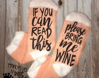 If you can read this, please bring me WINE socks - gift for her - wine socks - bottoms up socks - ladies socks - pink socks - wine gift