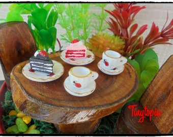 Mini Porcelain Tea Set with Cakes Fairy Garden