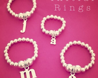 Sterling Silver Initial Alphabet Charm Stacking Ring