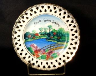 Vintage Hand Painted Florida Cypress Garden Souvenir Wall Plate