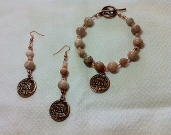 Copper coin, moonstone and sunstone set