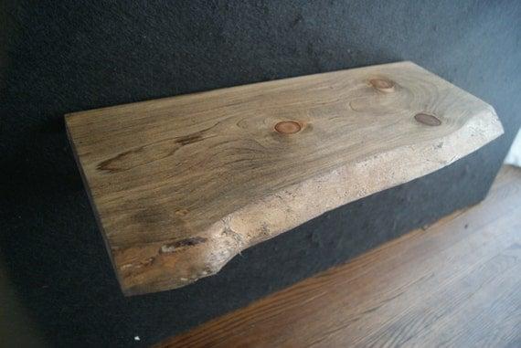 Live edge dark walnut finish pipe shelf 22 long live for Finishing live edge wood