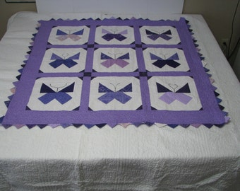 Purple butterflies baby quilt