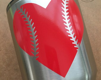 Baseball Softball Heart Laces Sports Decal Sticker for YETI OZARK RTIC Window Laptop Car