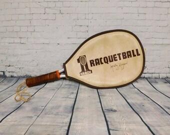 Racquetball Vintage Leach Racquetball Racquet Marty Hogan Edition Wall Decor