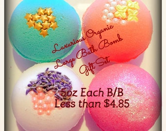 Handmade 4 Large Bath Bombs/Organic Luxurious Bath bombs/Gift Set/Mothers day/Birthday/on sale