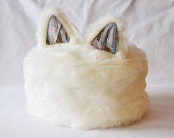 White Fake Fur bear ears like hat