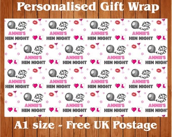 Personalised Hen Night wrapping paper with two tags.