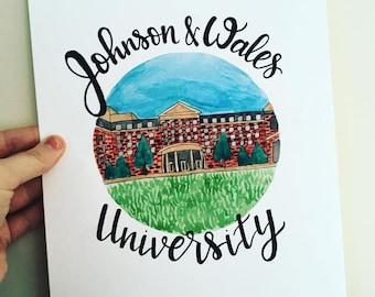 College Watercolor, Custom Grad Gift, Alma Mater Art, Campus Painting, Graduation Art, College Grad Gift, University Artwork, College Spirit