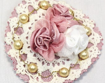 Handmade Victorian Inspired White Crochet Motif Brooch Hair Clip With Pink And White Satin Roses And Pearls