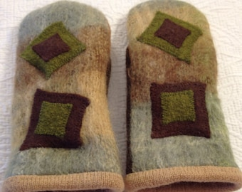Mittens  Upcycled, sweater mittens with a hand woven, appliqued top
