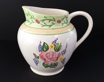 Large Vintage Handpainted Portuguese Pitcher Produced for Casafina