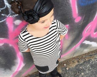 Baby headwrap, baby headband, toddler headwrap, faux leather, black headwrap