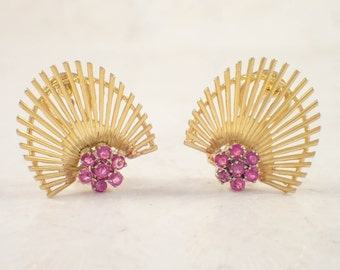 18K Yellow Gold Ruby Earrings