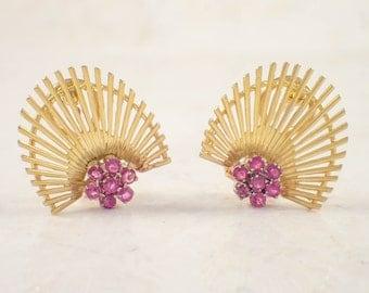 1980s 18K Yellow Gold Ruby Earrings, yellow Gold Earrings, Ruby Earrings, July Birthstone, Vintage