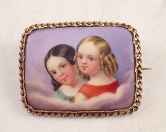 Antique 10k Yellow Gold Porcelain Brooch