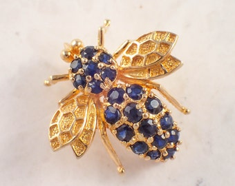 14K Yellow Gold Sapphire Bee Brooch