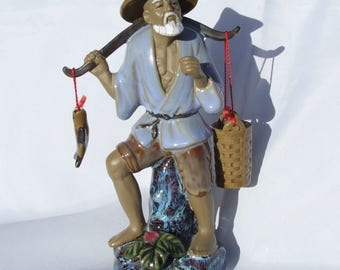Vintage Chinese Shiwan Mudman Fisherman Fish Seller Figurine - Circa 1990's Jun Style Glaze, Bonsai Ornament