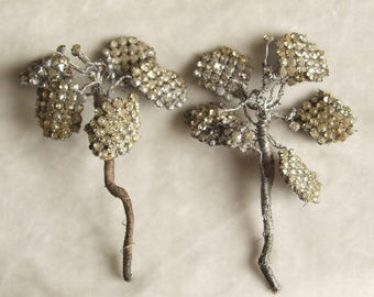 2  1920's Large Paste Flowers for Hair or Appliques