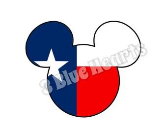 Texas Mickey Head SVG dxf pdf Studio, Texas Mickey Head, Texas Mickey, Texas Flag SVG dxf pdf Studio
