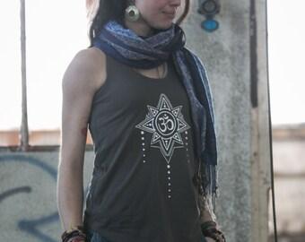 T-Shirt débardeur Femme gris Ohm marquage phosphorescent