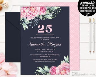 25th birthday invite | etsy, Birthday invitations