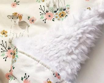 Lamb Baby Blanket, Floral Baby Blanket, Faux Fur Baby Blanket, Llama Faux Fur Baby Blanket, Lamb Crib Bedding,