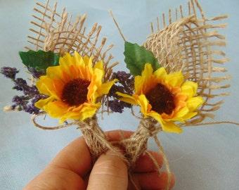 Sunflower Boutonniere,  Sunflower Boutonniere with Twine, Sunflower Wedding, Rustic Wedding, Country Wedding, Yellow Boutonniere, Groom