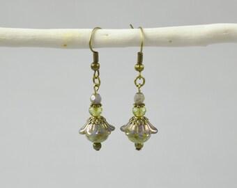 Green Czech Glass Dangle Earrings