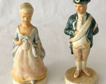 Antique Miniature Chalk George and Martha Washington Figurines