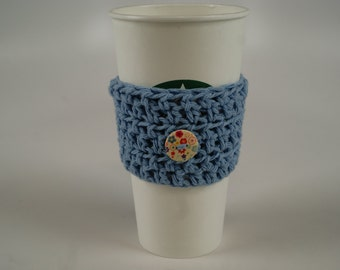 Simple Coffee Cozy - Light Blue with Floral Button