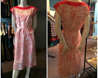 Vintage 1980s Fuchsia and White Maja Aztec Print Dress Size 10