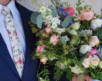 Blush Cream Floral Tie Boyfriend Gift Men's Gift Anniversary Gift for Men Husband Gift Wedding Gift For Him Groomsmen Gift for Friend Gift