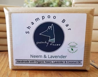 Organic Dog Shampoo Bar Neem & Lavender. Natural Soap for Dogs. Dog Care for itchy, flakey, sore skin and Dandruff. 80g / 2.82 oz