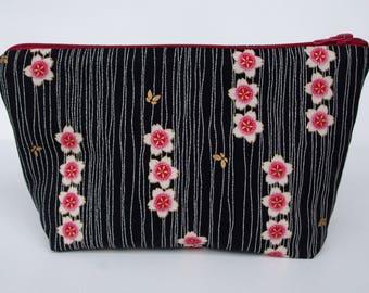 Toilet bag black Japanese fabric