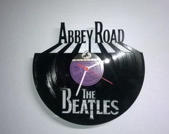 the beatles abbey road Uhr aus Schallplatte vinyl clock