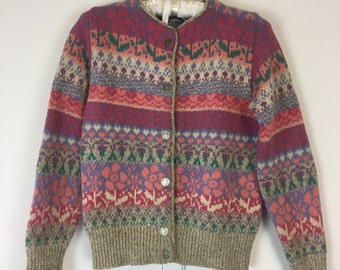 Vintage Cambridge dry Goods 80's coin button front sweater wool blend pink S M
