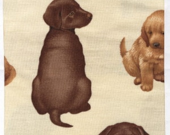 Puppies by Liz Goodrick-Dillon for Timeless Treasures Fabric by the Yard c-4467-cream