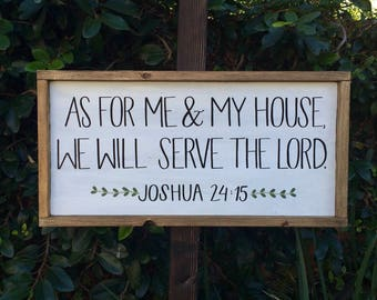 """Joshua 24:15 """"As For Me and My House We Will Serve The LORD"""" White Distressed Rustic Wood Sign With Bible Verse and Stained Frame"""