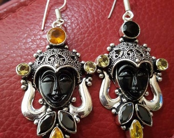 Carved Face Earrings with Black Onyx and  Honey Quartz and Black Onyx stones!